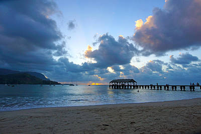 Hanalei Pier Sunset Kauai Poster by Kevin Smith