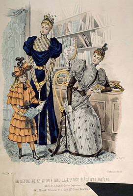 Hand-colored Engraving Of Two Women Poster