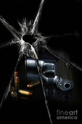 Handgun Bullets And Bullet Hole Poster