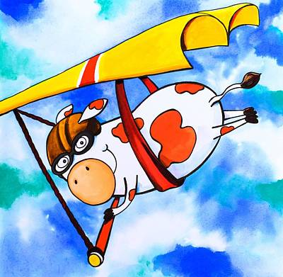 Hang Glider Cow Poster by Scott Nelson