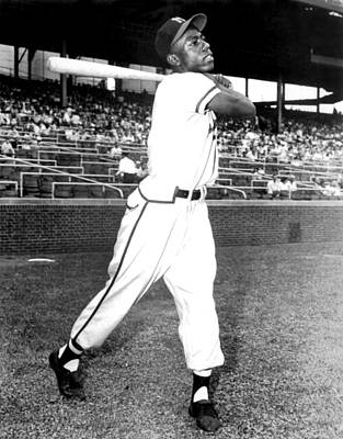 Hank Aaron Of The Milwaukee Braves, Ca Poster by Everett
