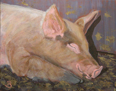 Poster featuring the painting Happy As A Pig by Joe Bergholm