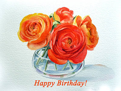 Happy Birthday Card Flowers Poster by Irina Sztukowski