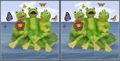 Happy Frogs - Gently Cross Your Eyes And Focus On The Middle Image Poster by Brian Wallace