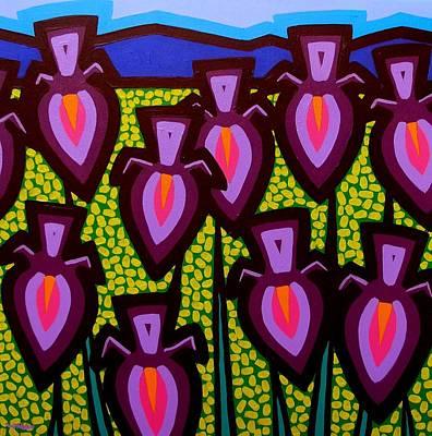 Happy Irises Poster by John  Nolan