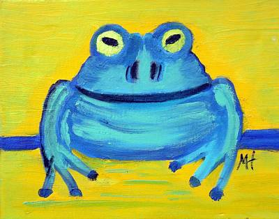 Poster featuring the painting Happy Male Frog by Margaret Harmon
