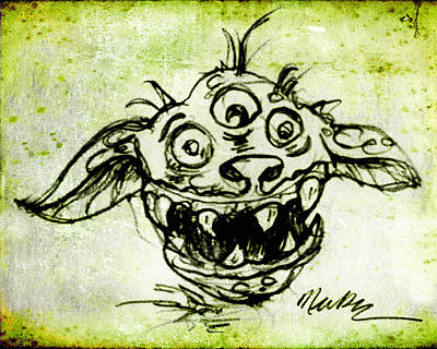 Poster featuring the drawing Happy Monster  by Nada Meeks