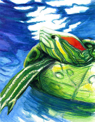 Happy Turtle Poster by Rene Capone