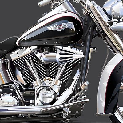 Harley Davidson Detail Poster by Alain Jamar