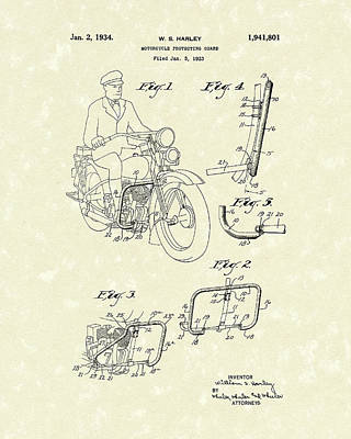 Harley Motorcycle 1934 Patent Art Poster