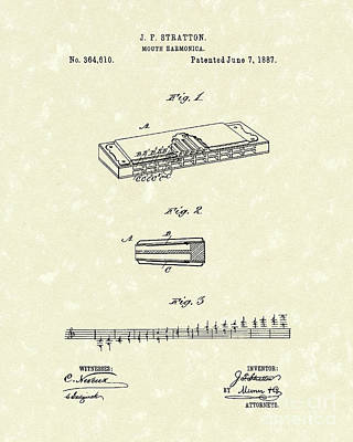 Harmonica Stratton 1887 Patent Poster by Prior Art Design