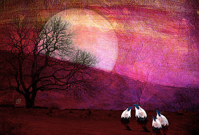 Poster featuring the digital art Harvest Moon Sheep by Jean Moore