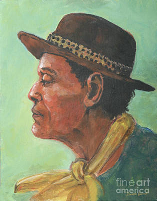 Poster featuring the painting Hat And Yellow Scarf by Dwayne Glapion