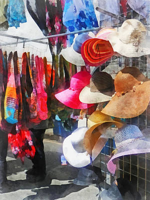 Hats And Purses At Street Fair Poster by Susan Savad