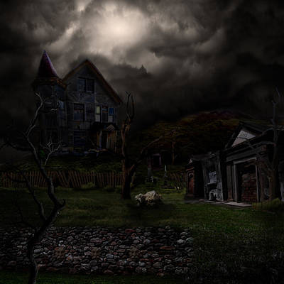 Haunted House Poster by Lisa Evans