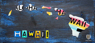 Hawaii License Plate Map Poster