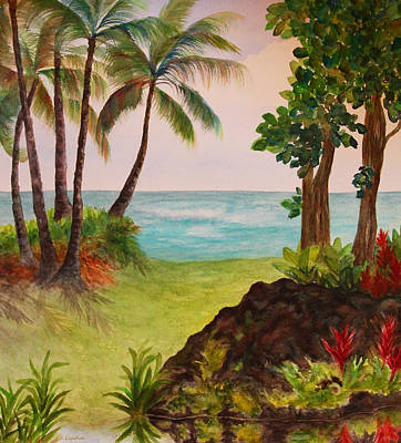 Poster featuring the painting Hawaiian Oceanside by Kerri Ligatich