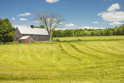 Hay Being Harvested Near Barn In Maine Poster
