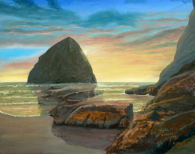 Poster featuring the painting Haystack Kiwanda Sunset by Chriss Pagani