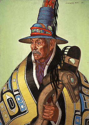 Head Chief Of The Tlingit Holds Poster by W. Langdon Kihn
