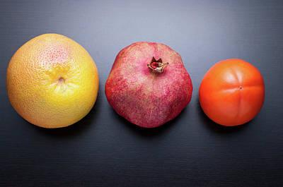 Healthy Fruits On Dark Wooden Background Poster by daitoZen