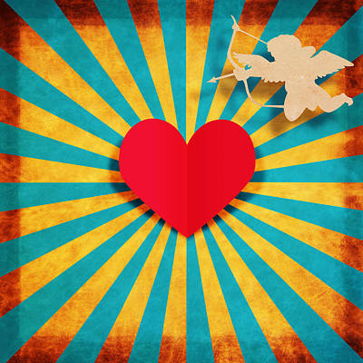 Heart And Cupid On Paper Texture Poster