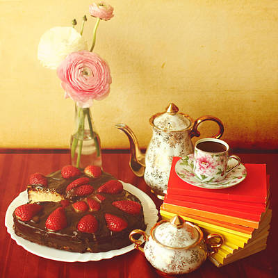Heart Shaped Chocolate Strawberry Cake In Plate Poster by Julia Davila-Lampe