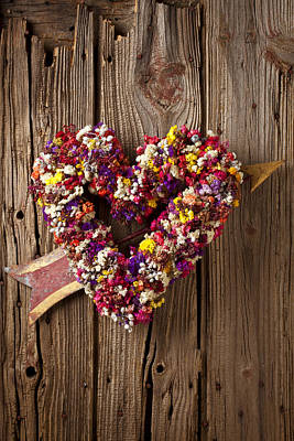 Heart Wreath With Weather Vane Arrow Poster by Garry Gay
