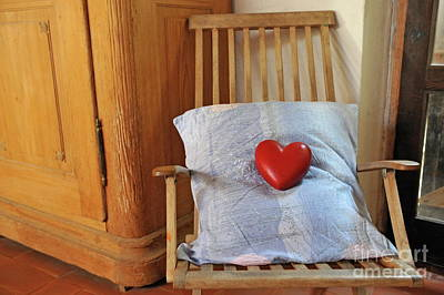 Heartshape And Pillow On Wooden Rocking Chair Poster by Sami Sarkis