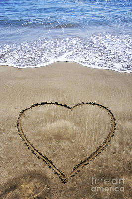 Heartshape Drawn In Sand On Beach Poster