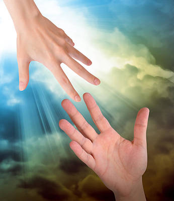 Helping Hands In Sky Poster by Angela Waye