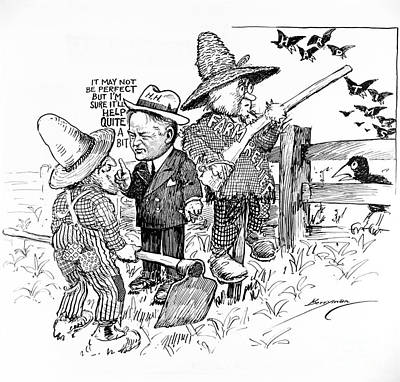 Herbert Hoover Political Cartoon Poster by Photo Researchers