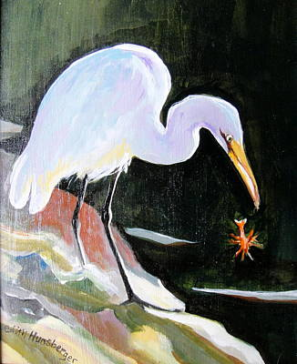 Heron And Crayfish Poster