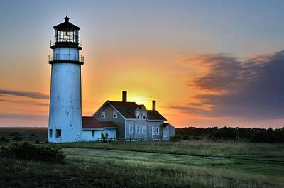 Highland Lighthouse - Sunset Burst Poster by Thomas Schoeller
