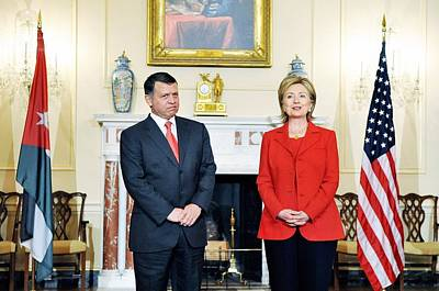 Hillary Clinton With King Abdullah II Poster by Everett