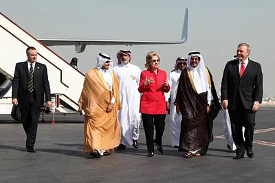 Hillary Clinton With Us And Qatari Poster