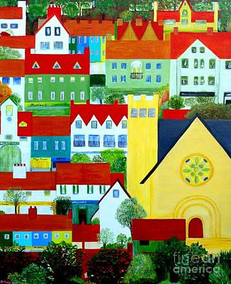 Poster featuring the painting Hillside Village by Barbara Moignard