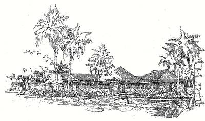 Poster featuring the drawing Hilo House by Andrew Drozdowicz