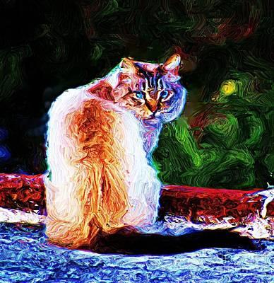 Poster featuring the digital art Himalayan Cat by John  Kolenberg