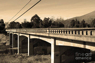 Historic Niles District In California Near Fremont . Bridge Into Niles District . 7d10596 . Sepia Poster