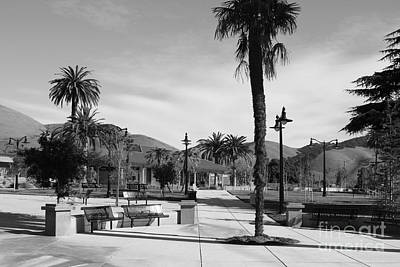 Historic Niles District In California Near Fremont . Niles Depot Museum And Town Plaza.7d10651.bw Poster by Wingsdomain Art and Photography