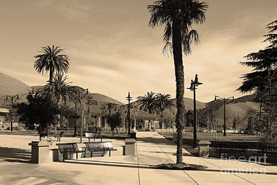 Historic Niles District In California Near Fremont . Niles Depot Museum And Town Plaza.7d10651.sepia Poster by Wingsdomain Art and Photography
