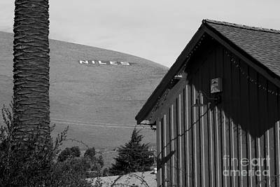 Historic Niles District In California Near Fremont . Niles Letters On Hill From Niles Town Plaza.bw Poster by Wingsdomain Art and Photography