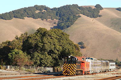 Historic Niles Trains In California . Old Southern Pacific Locomotive And Sante Fe Caboose . 7d10817 Poster
