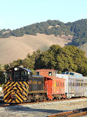 Historic Niles Trains In California . Old Southern Pacific Locomotive And Sante Fe Caboose . 7d10819 Poster