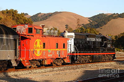 Historic Niles Trains In California . Old Southern Pacific Locomotive And Sante Fe Caboose . 7d10843 Poster