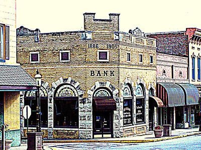 Historical Bank Building Poster by Kathy  White