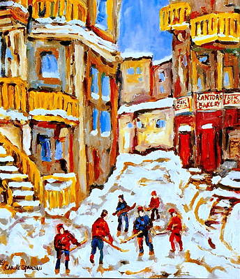 Hockey Art Montreal City Streets Boys Playing Hockey Poster by Carole Spandau