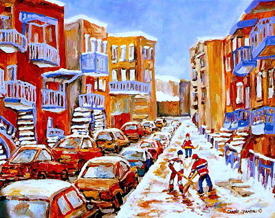 Hockey Art Streets Of Montreal Hockey Paintings Poster by Carole Spandau