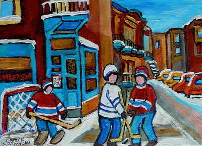 Hockey Game Corner Clark And Fairmount Wilenskys Paintings Poster